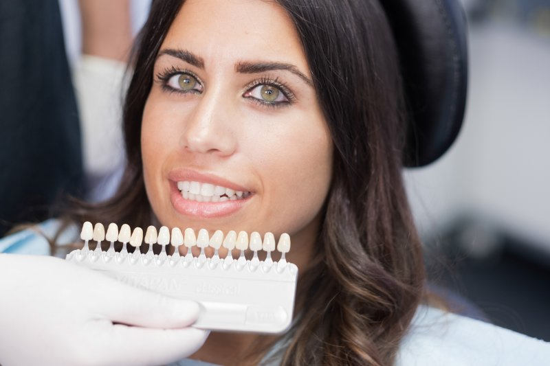 cosmetic dentist in Arlington using shade guide on patient